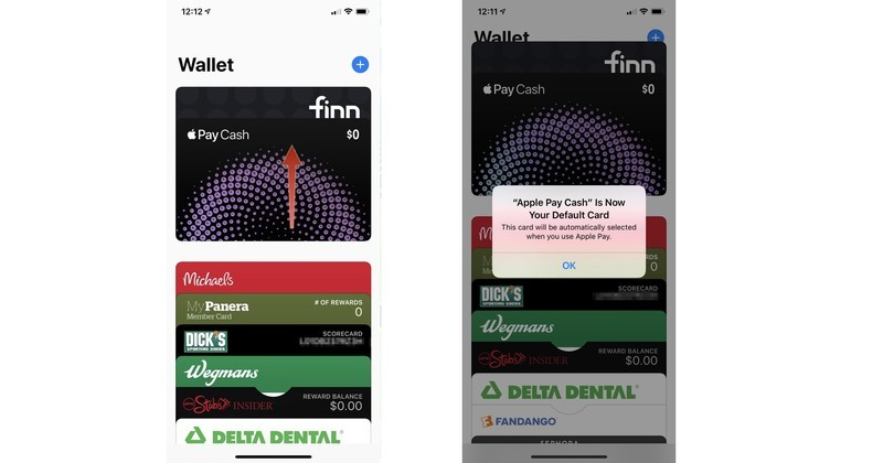 To change your default payment method in the Wallet app on your iPhone, open the Wallet app, touch and hold a card until it hovers. Drag it to the front of the other cards.
