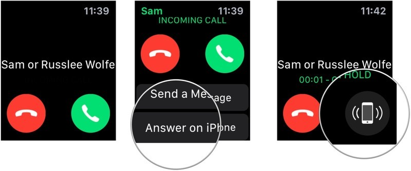 To transfer a call from Apple Watch to iPhone, use the Digital Crown, then tap Answer on iPhone.  If you've already answered the call on your Apple Watch, you can transfer it to your iPhone in one of two ways: If your iPhone is locked, tap on the phone icon at the top left corner of the screen. Otherwise, tap the time at the top of the screen.