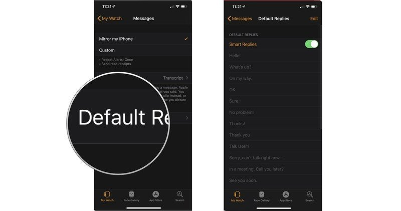 Default replies Apple Watch