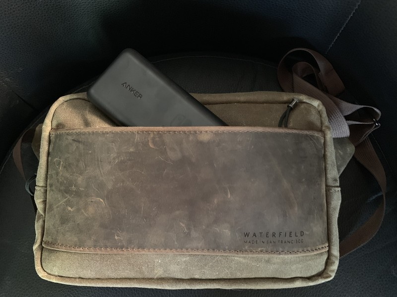 Waterfield Designs Sutter Sling Pouch for Nintendo Switch front pocket with Anker PowerCore 20100 battery pack