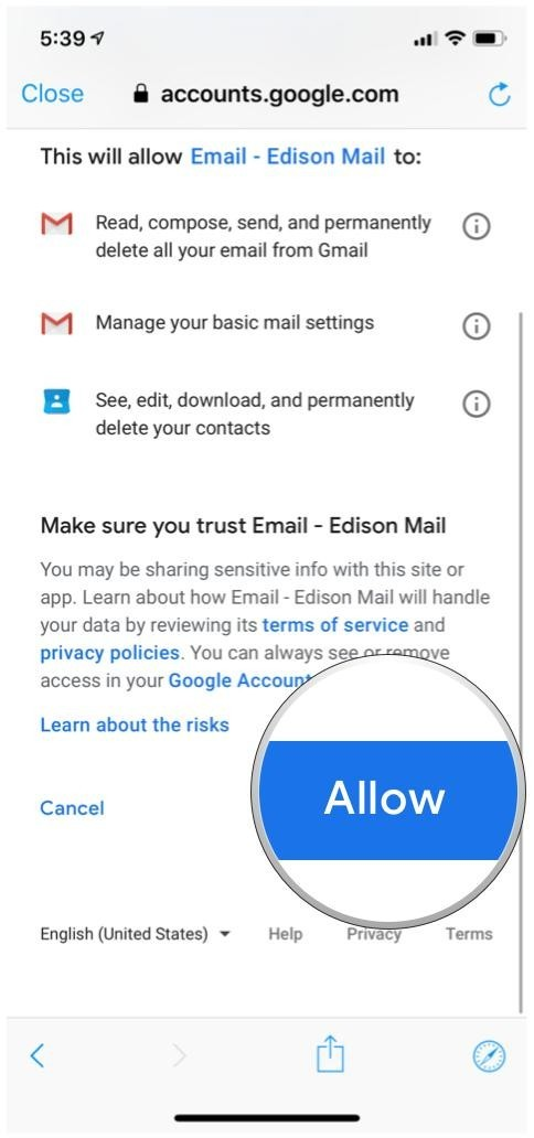edison mail google account allow access