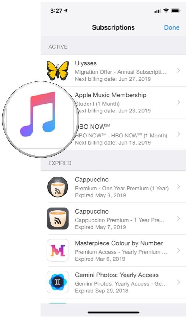iOS 12 App Store, Account, Subscriptions, Apple Music
