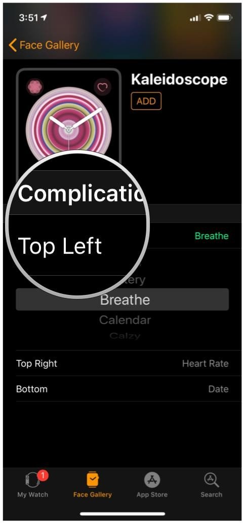 iOS Watch App, Face Gallery, Kaleidoscope, Complications