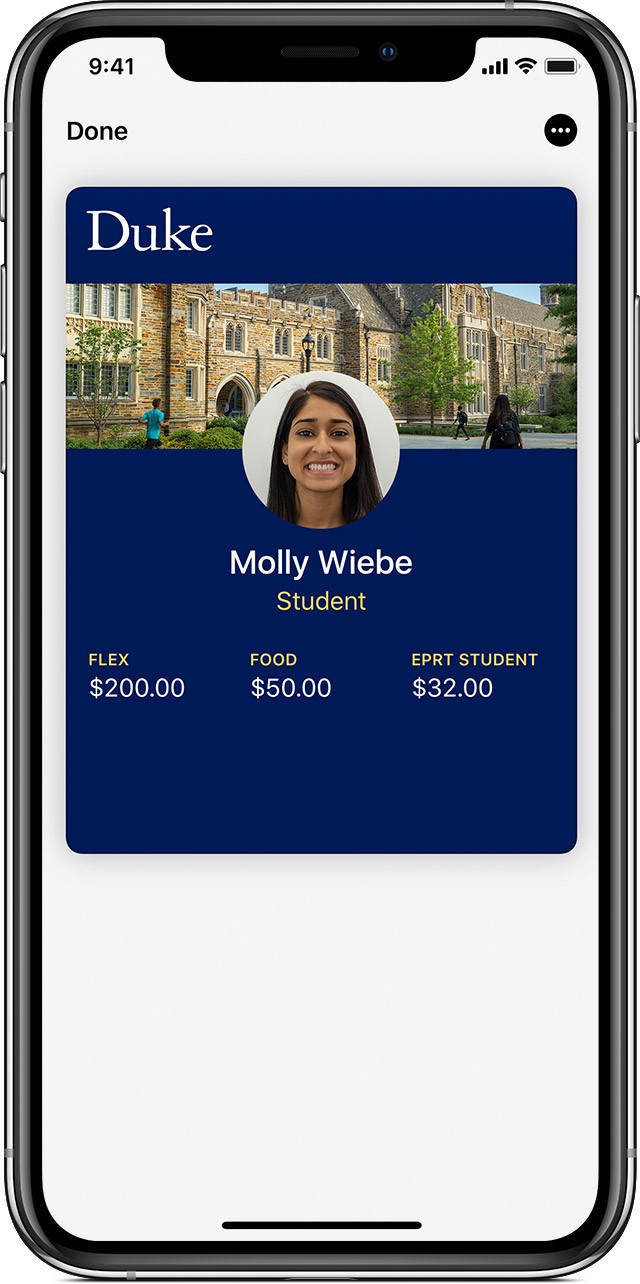 Duke student ID account balance