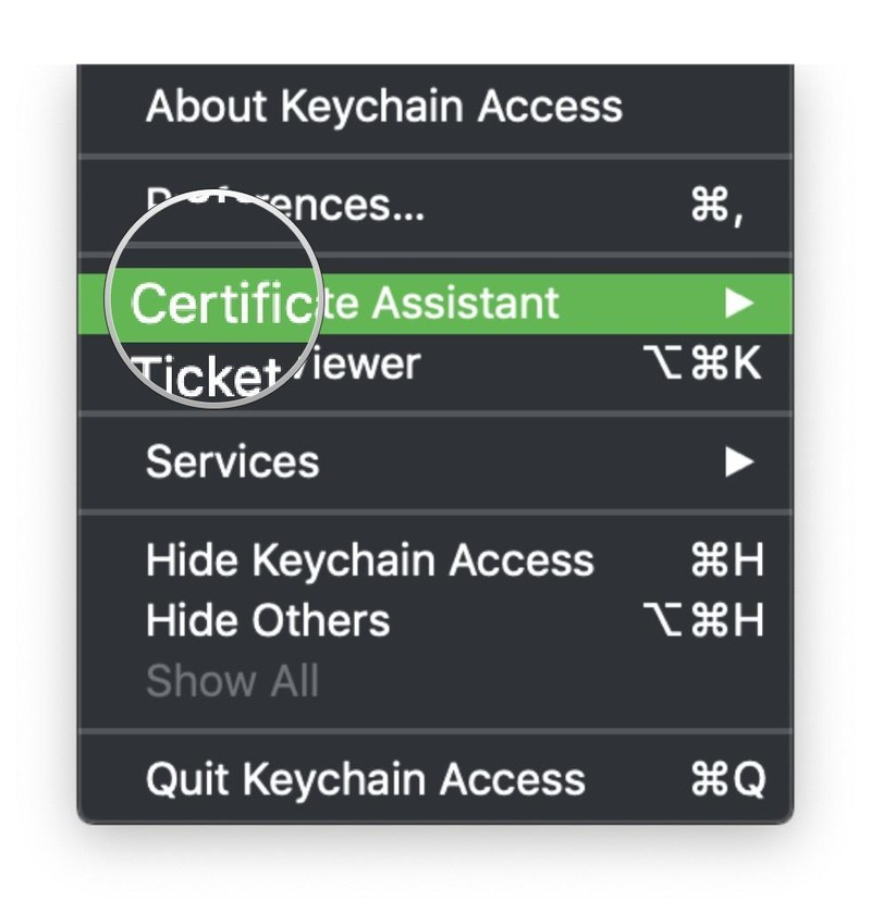 Keychain Access menu Certificate Assistant