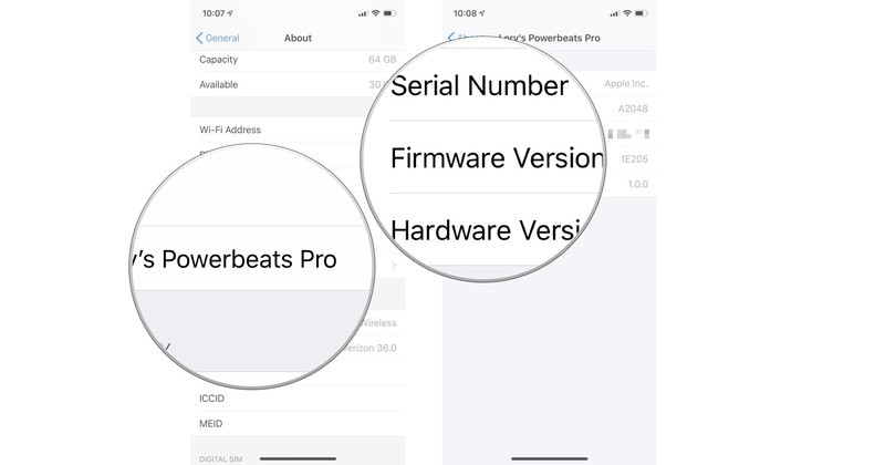 Tap your Powerbeats Pro to see its detailed information like firmware and serial number