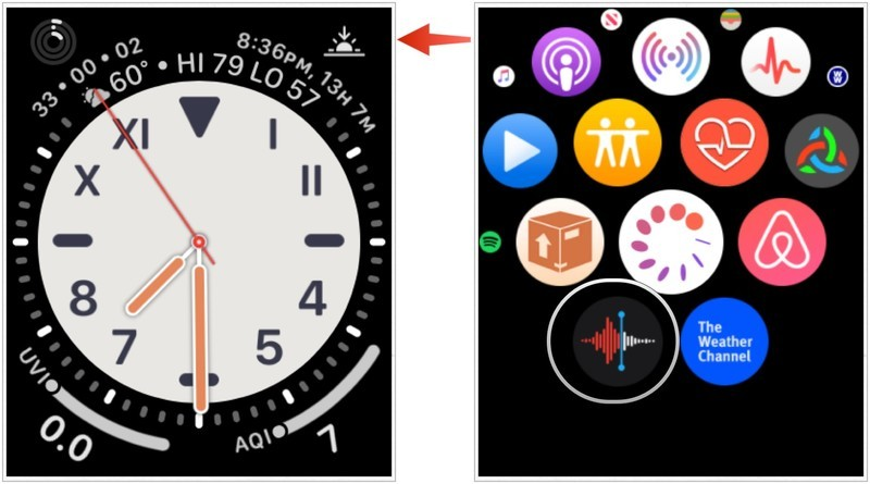 Find Voice Memos app on Apple Watch