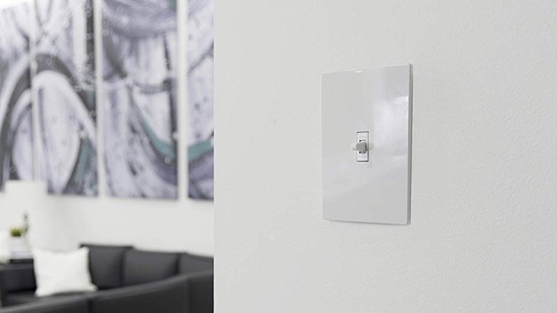 GE Smart Toggle Light Switch installed in a wall