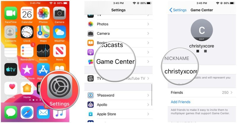 Settings, Game Center, Nickname