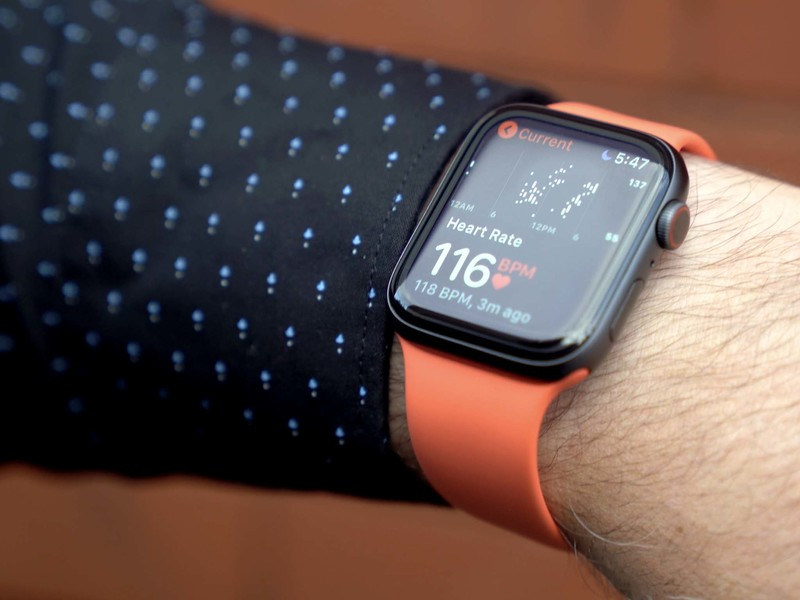 Apple Watch showing heart rate