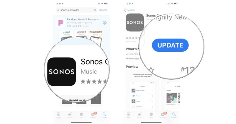 Tap the Sonos app, then tap Update if needed