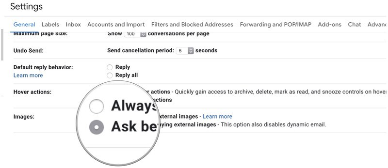 gmail turn off automatic image downloading