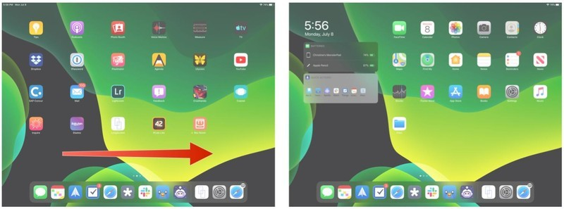Swipe right to get widgets on home screen