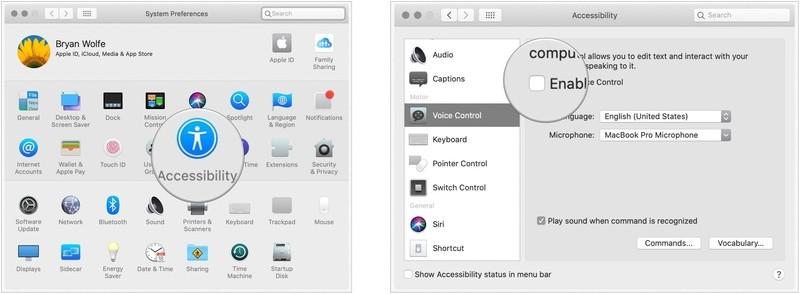 To turn on Voice Control, click on System Preferences on your Mac's dock, then select Accessibility. Tap Voice Control under the Motor section. Finally, check the box for Enable Voice control