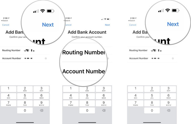 tap Next, then enter your routing number and bank account number again, then tap Next