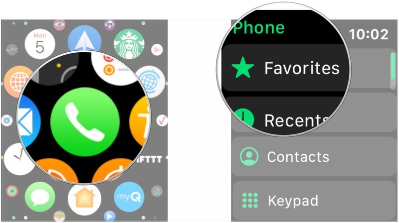 Open Phone, tap Favorites, Recents, Contacts, or Keypads