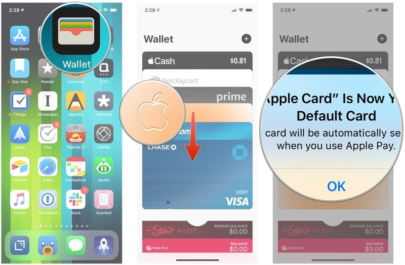 Open Wallet, drag Apple Card to front, it is now Default Apple Pay card