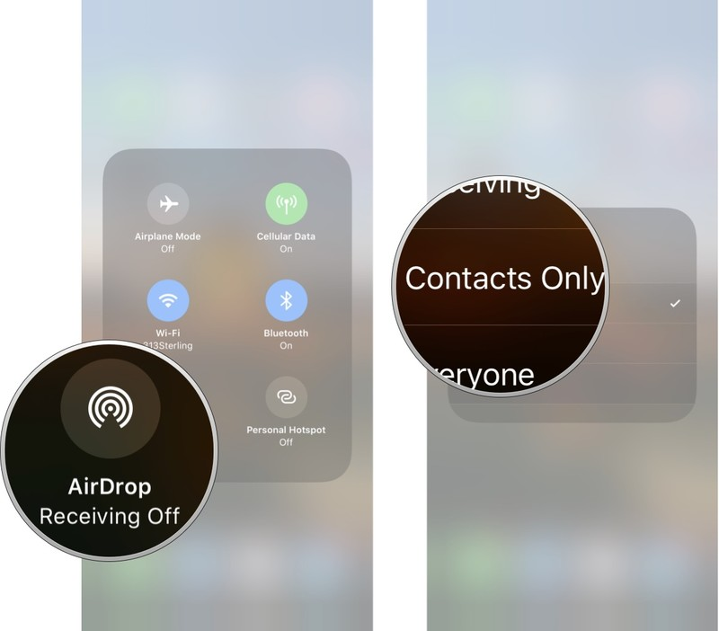 Tap AirDrop and then tap contacts only or everyone to turn on AirDrop.