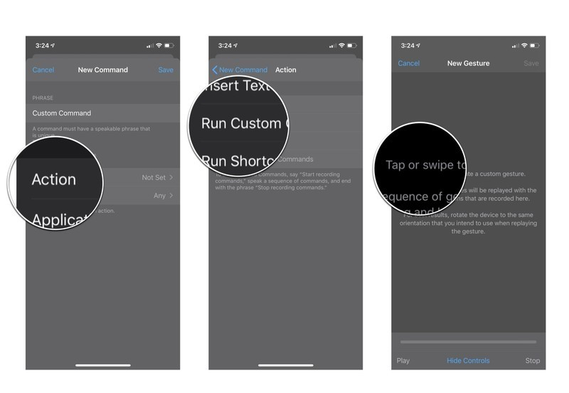 Custom gesture command edit screen: Tap action, tap run custom gesture, and then tap or swipe to create the gesture you want.