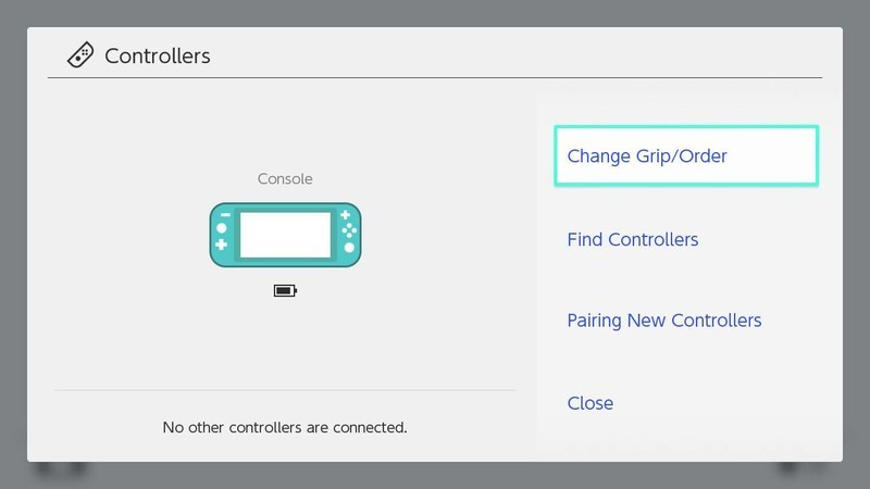 How to pair Joy-Cons Nintendo Switch Lite: Click on change grip/order