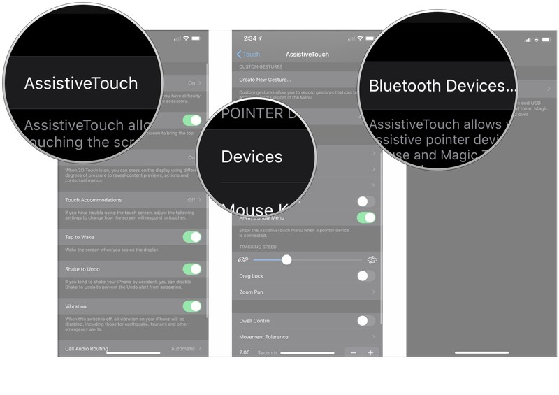 Tap AssistiveTouch, tap Devices, tap Bluetooth Devices