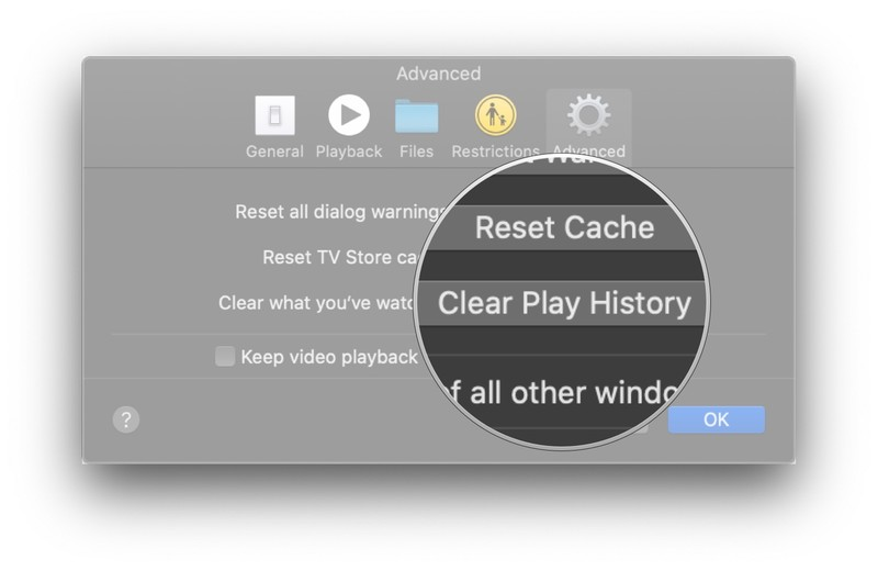 Click Clear Play History