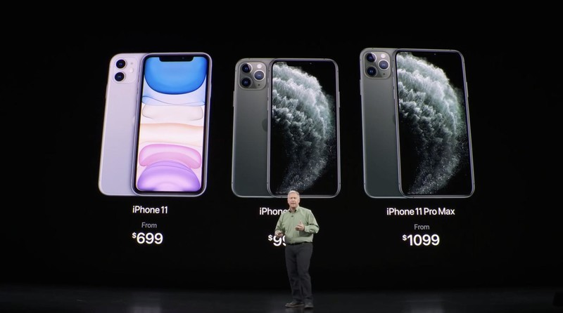 Phil Schiller on stage with iPhone 11 and iPhone 11 Pro at Apple's September 2019 Event