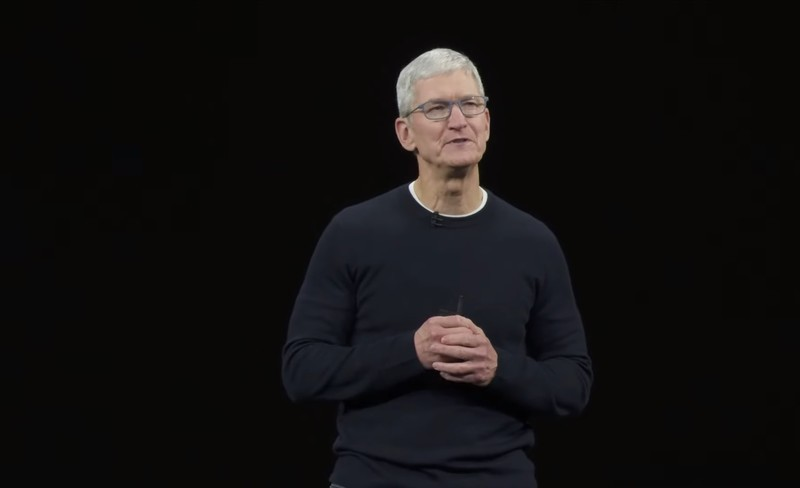 Tiim Cook on stage at iPhone 11 event