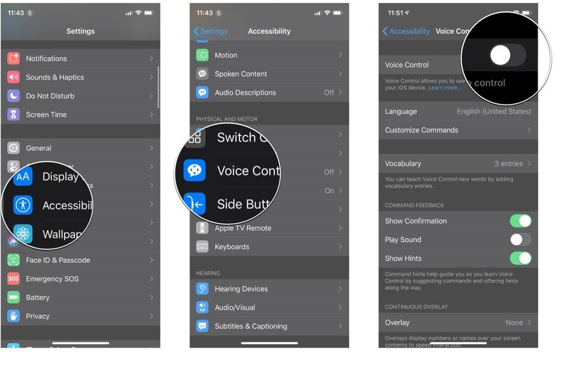 Turning on Voice Control: Launch Settings, tap Acessibility, tap Voice Control, and the tap the On/Off switch.