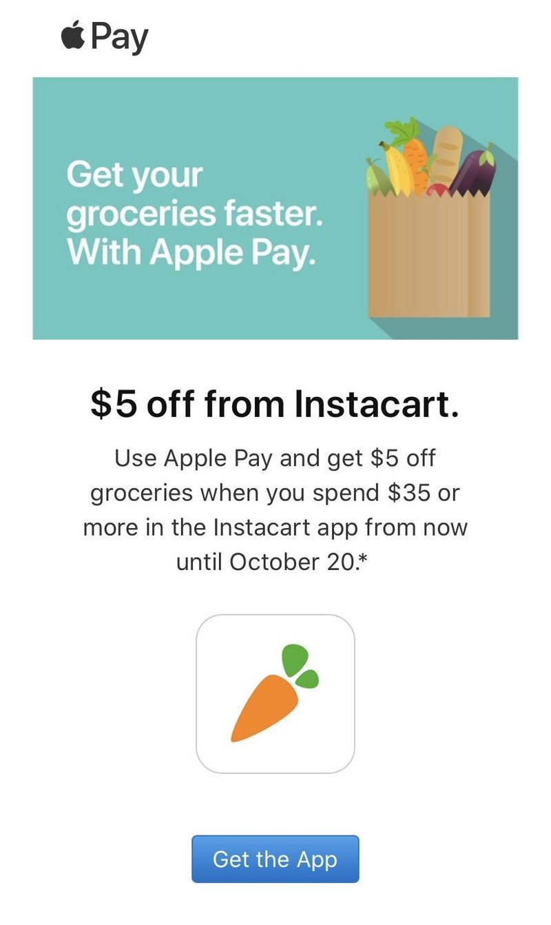 5 off from Instacart with Apple Pay