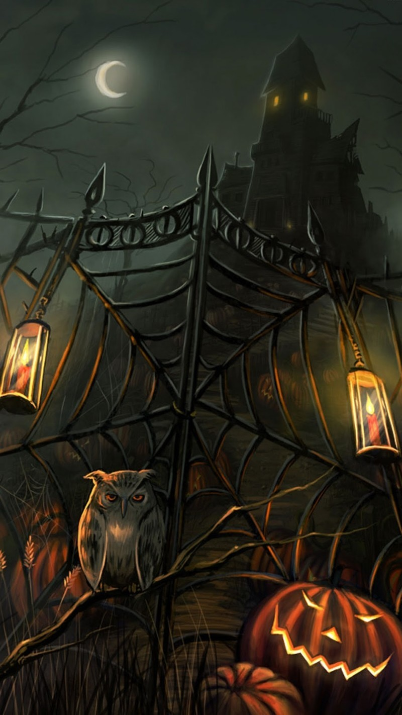 Spider web gate with owl and pumpkins in front of haunted house
