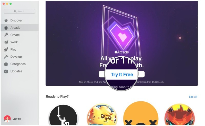Sign up for Apple Arcade on Mac by showing steps: Click Try It Free