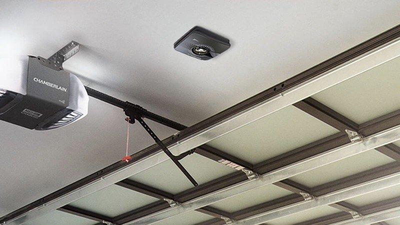Chamberlain MyQ Smart Garage Hub installed on the ceiling of a garage