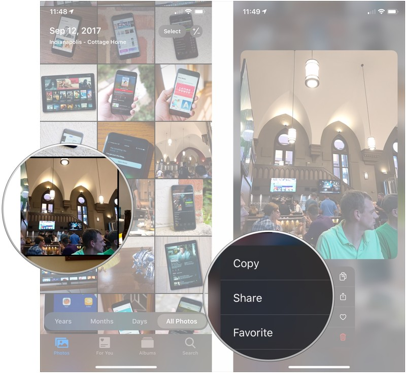 Haptic Touch Live Photos, showing how to long-press a photo, then tap an action