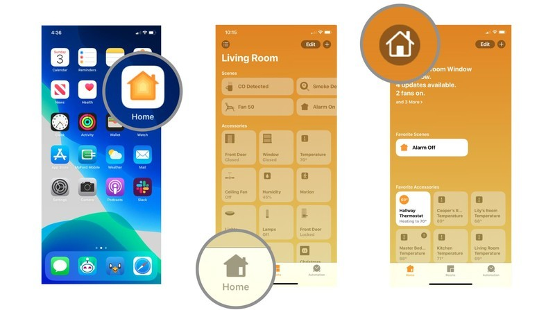 Steps 1-3 depicting how to change your home wallpaper in the Home app