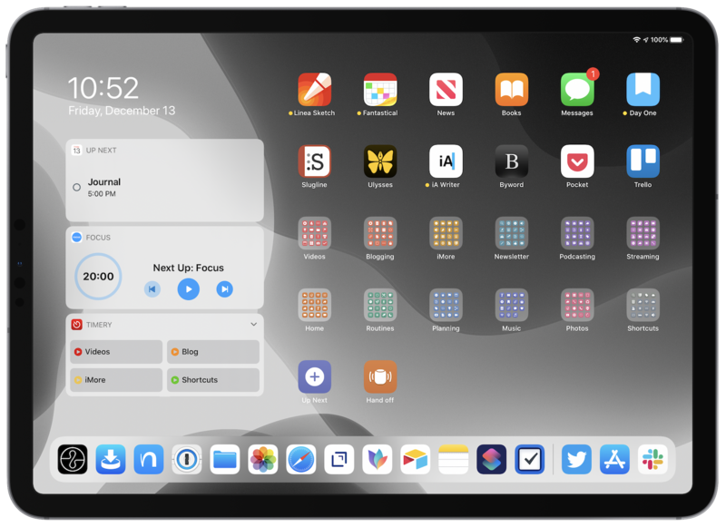 Screenshot of the author's iPad Home screen, with 12 folders of shortcuts added to the Home screen and 2 example shortcuts.