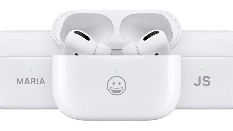 3 AirPods Pro charging cases with emoji and text engraving