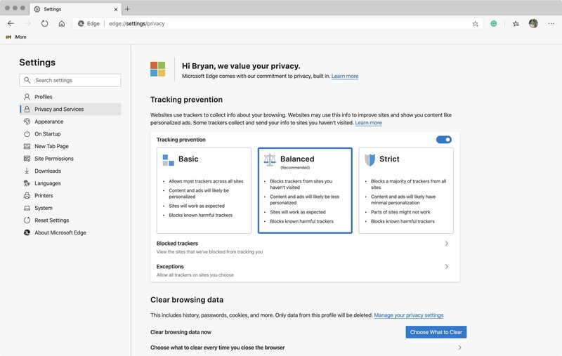 Microsoft Edge privacy selection