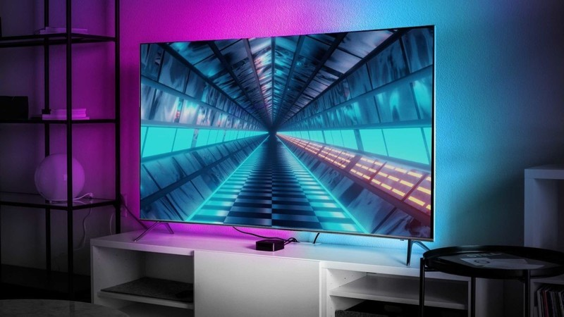 LIFX-Z light strips installed behind a television