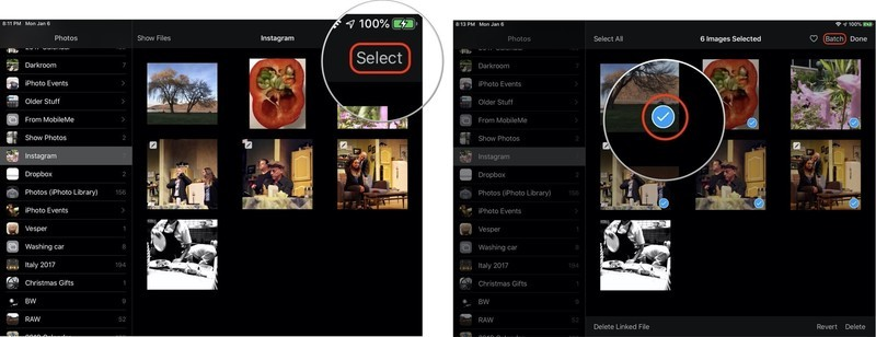 Tap select, then tap each photo you want to batch edit
