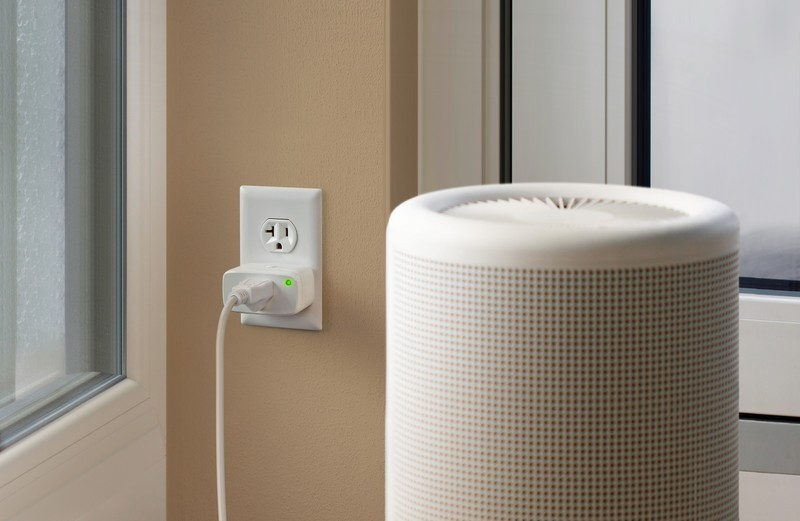 Eve Energy smart plug installed in an outlet