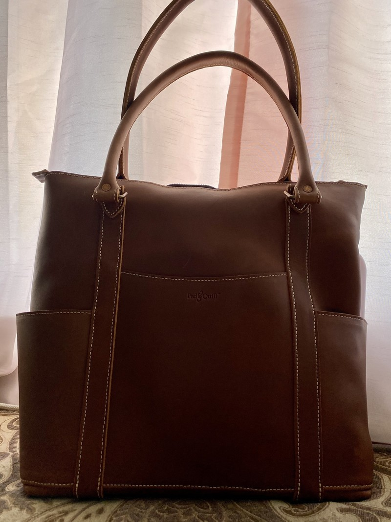Pad Quill Leather Laptop Tote Handles