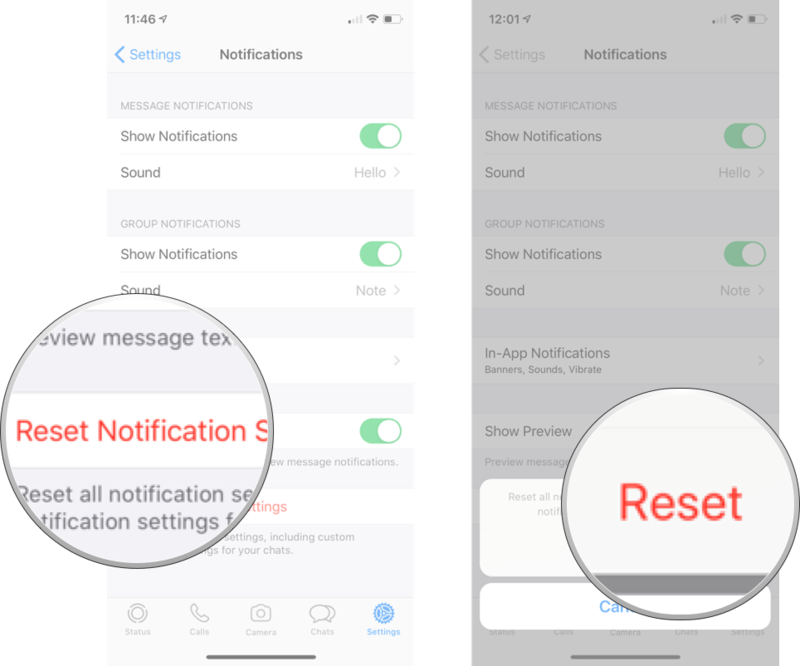 Tap reset notification settings and then tap reset.