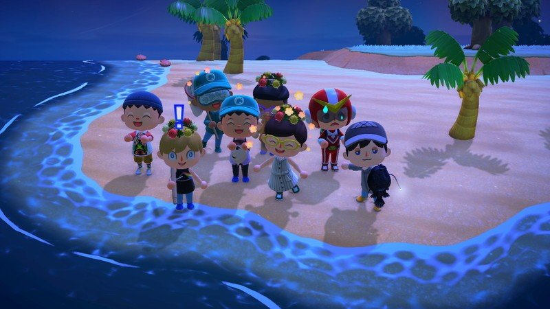 Animal Crossing New Horizons several people's avatars posing for a picture on one island