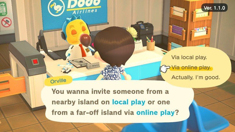 Animal Crossing New Horizons player indicating that they want to use an online connection to visit someone