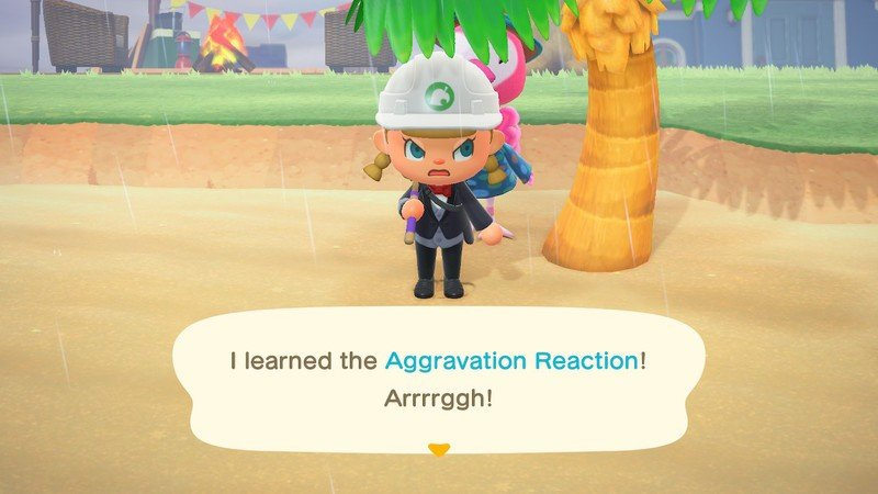 Animal Crossing New Horizons Flora teaching the player Aggravation Reaction