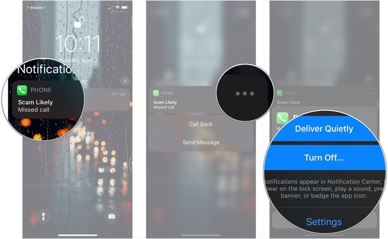 Manage notification preference, showing how to long press notification, tap ..., then tap one of the options