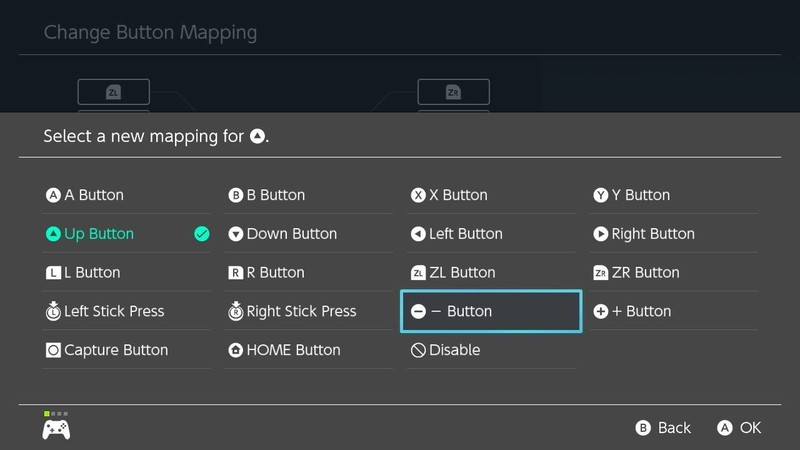 How to remap Switch controller buttons: choose the new control you want for that button