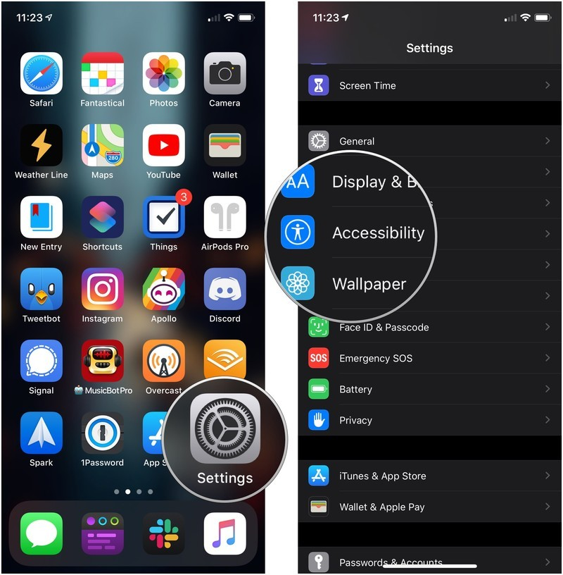 Turn off Shake to Undo showing how to open Settings, then tap Accessibility