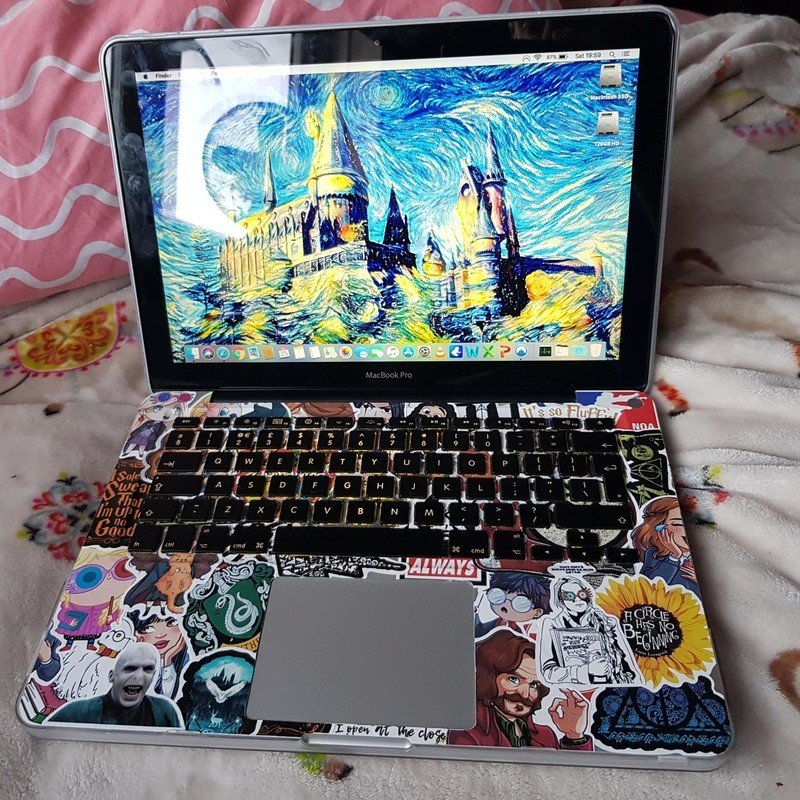Macbook Pro Covered In Harry Potter Stickers